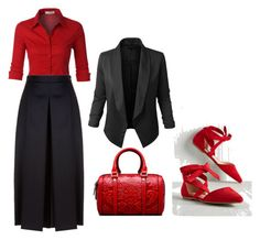 """""""Red/black"""" by spolyvore1 ❤ liked on Polyvore featuring LE3NO and Alexander McQueen"""