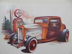 Vintage Three Window 30s Hot Rod Car Adult Unisex T Shirt Brent Gill Design POS159