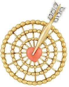 Gold, diamond, and coral bullseye brooch, Cartier