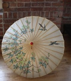 Vintage Rice Paper Bamboo Large Asian Chinese Umbrella Parasol, Wedding. I have this exact one!