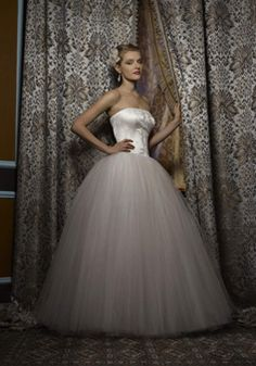 Vintage Ball Gown Strapless Tulle & Satin Natural Waist Floor Length Wedding Dress - 1300300596B - US$259.99 - BellasDress