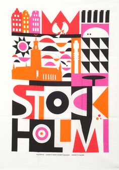 Maria Dahlgren Stockholm Tea Towel - illustration - Scandinavian design