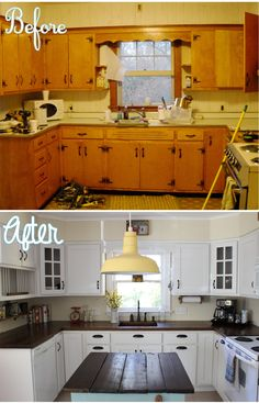 Before And After Kitchen Makeovers Country Kitchen Remodelling: White Painted Cabinets Plus An Added Rustic Kitchen Island.Country Kitchen Remodelling: White Painted Cabinets Plus An Added Rustic Kitchen Island. Country Kitchen Renovation, Small Kitchen Renovations, Diy Kitchen Remodel, Kitchen Remodelling, Renovated Kitchen, Old Home Remodel, Old Home Renovation, Remodel Bathroom, Small Kitchen Makeovers