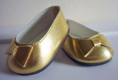 Metallic Gold Ballet Flats Shoes for American Girl Doll Clothes Moniques Brand | eBay