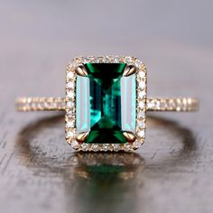 6x8mm Emerald Cut Lab Emerald and Diamond Engagement Ring 14K Yellow Gold Halo Stacking Ring