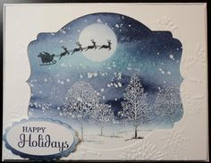 Snowy Scene..Easy card with lots of steps, by Sharon Bridges. I got the inspiration from a card I saw by Carolyn King.