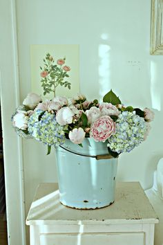 Bucket with Peonies and Hydrangea, how beautiful!
