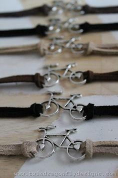Bike Bracelet Tutorial (this can be done with any charm that can be tied from the sides)