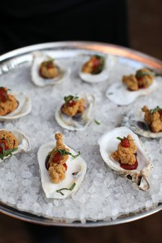 fried oysters on the half shell | Charlotte Elizabeth Photography #wedding