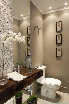 Trendy Bathroom Mirror And Lights Half Baths Beautiful Bathrooms, Modern Bathroom, Small Bathroom, Bathroom Wood Shelves, Ideas Baños, Jardin Decor, Small Toilet, Downstairs Bathroom, Rustic Lighting