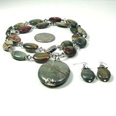 Jasper Necklace Earrings Combo Red Creek by CatjuHandmadeJewelry, $48.00