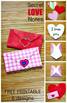 Secret love note origami. How to make tiny folded heart envelopes.  A simple paper craft for kids.  Valentines day activity with FREE PRINTABLE.