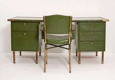 Rare Green Leather Desk and Chair by Jacques Adnet | From a unique collection of antique and modern desks and writing tables at http://www.1stdibs.com/furniture/tables/desks-writing-tables/