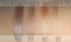 Kiko - Water Eyeshadow #200 #208 SWATCH