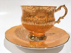 Orange Gold Tea Cup and Saucer, Elizabethan Tea Cups, Tea Set, English Teacups, Teacup and Saucer, Bone China Tea Cups, Tea Cups Antique by AprilsLuxuries on Etsy