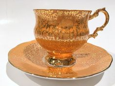 Orange Gold Tea Cup and Saucer, Elizabethan Tea Cups, Tea Set, English Teacups…
