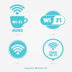Pack de labels of wifi zone  Free Vector