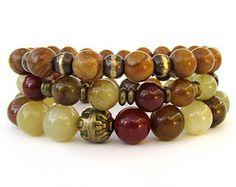 Beaded Stretch Bracelets - Rainbow Soocho Jade and Wood Jasper Bead Bracelets - Bracelet Stack - Women's Bracelets - WS1426