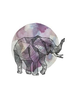 Full Moon Series: Geometric Animals - Elephant  / ink and watercolor on paper drawing, 9x12   Art