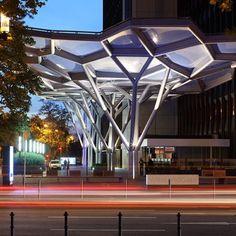 entrance canopy of WestendGate in Frankfurt am Main, using Voronoi style diagrams by Just Burgeff architekten + a3lab