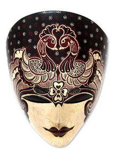 Wood Batik Mask from Indonesia