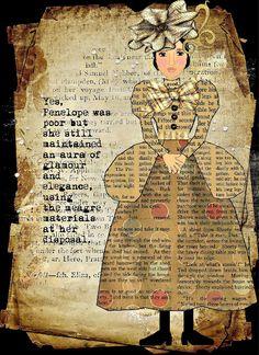 Art Journal -- love the dress made of book print