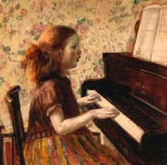 ♪ The Musical Arts ♪ music musician paintings - Frederick C. Frieseke   Child at piano, 1923