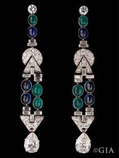 Art Deco Earrings: Platinum, Sapphires, Emeralds and Diamonds