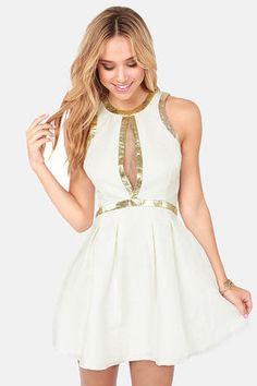 Lumier Splendid on a High Note Ivory Jacquard Dress at LuLus.com! #lulus #holidaywear LOVE THIS so amazing