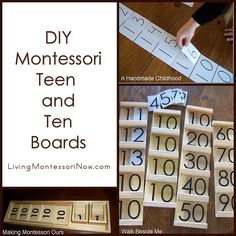 To save money, many Montessori homeschoolers make their own Seguin (teen and ten) boards.