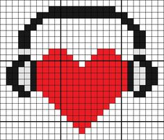 #Pixel #Hama #Beads #Pyssla #PuntoCroce #CrossStitch #Music #Heart #Love #LoveMusic