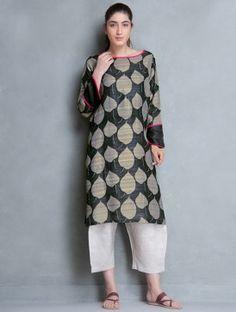 Black-Grey Hand Block Printed Organic Silk Kurta by Aeshane