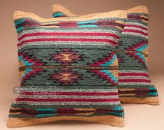 This pair of southwest pillow covers features an outstanding old style Zapotec Indian design for classic southwestern style or western decor.