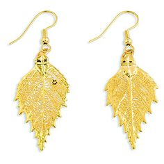 24k Gold Dipped Birch Leaf Earrings >>> To view further for this item, visit the image link. Note: It's an affiliate link to Amazon.