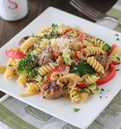 Sausage and pepper pasta.
