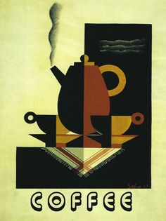 COFFEE POT Fun Kitchen Art Deco Style Vintage Poster Reproduction FREE S/H
