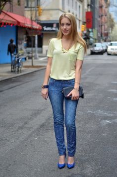 Ideas for styling polka dot jeans
