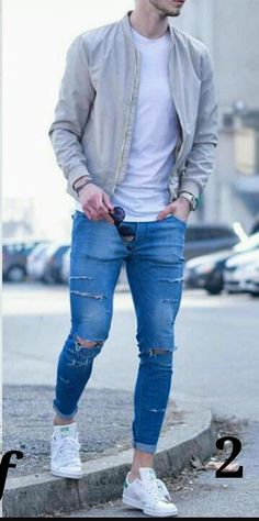 Casual Bomber/Ripped Jeans Tap the link to shop on our official online store! You can also join our affiliate and/or rewards programs for FREE! The post Casual Bomber/Ripped Jeans Tap the link to shop on our official online store appeared first on Jeans. Ripped Jeans Outfit, Casual Jeans, Men Casual, White Jeans Outfit Mens, Skinny Jeans, Mode Outfits, Jean Outfits, Superenge Jeans, Teen Fashion
