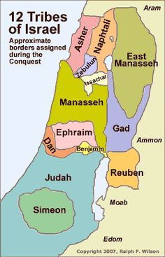 12 Tribes of Israel, approximate borders assigned during the Conquest
