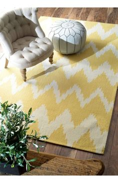 Rugs USA Radiante Nuo Chevron Ikat Mustard Rug. Rugs USA Labor Day Sale up to 80% Off! Area rug, carpet, design, style, home decor, interior design, pattern, trend, statement, summer, cozy, sale, discount, free shipping, labor day, yellow.