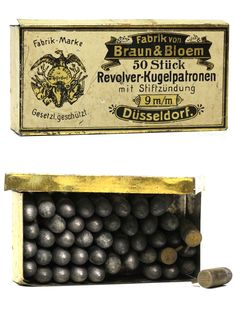 9mm Pinfire Cartridge Box by Braun and Bloem