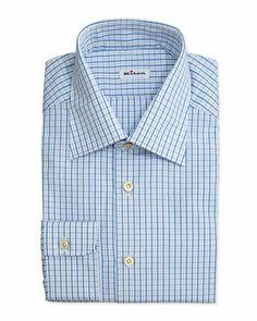 Box-Check Dress Shirt, Blue  by Kiton at Bergdorf Goodman.