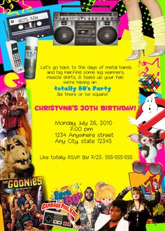 80's Retro personalized Custom Birthday Party invitations. $15.00, via Etsy.