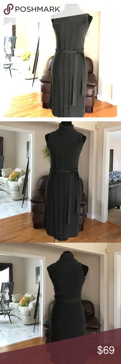 Calvin Klein cableknit dress Gorgeous, sleeveless grey/brown cableknit with tie belt. Never worn. 21 inches from natural waist. Acrylic, dry clean only. Beautiful and professional. Calvin Klein Dresses