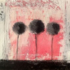 Bright and Strong Pink  Black Trees Painting Art by LisbonStore, $30.00