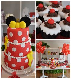 Minnie Mouse themed birthday party with Lots of Really Cute Ideas via Kara's Party Ideas | Cake, decor, desserts, favors, games, and more! K...