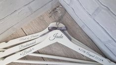 Personalised Wedding Bridal Coat Hanger's, Any Colour Scheme & Text Can Be Added by NEVERGROWUPUK on Etsy Personalized Wedding, Personalized Gifts, Handmade Gifts, Never Grow Up, Coat Hanger, Color Schemes, Craft Ideas, Trending Outfits, Colour