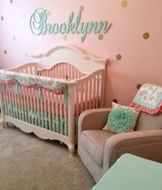 Baby Girl Bedding in Mint Gray Peach Bumperless by LottieDaBaby