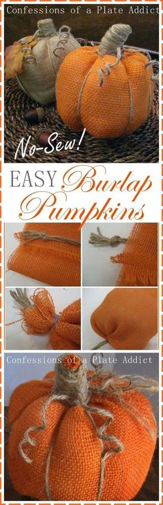 Easy Burlap Pumpkins. What cute fall home decor! This easy DIY craft project…