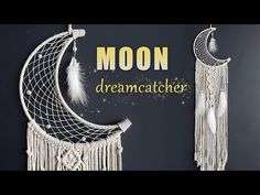 Learn how to make a beautiful Moon Dreamcatcher using macrame and weaving technique. This is a wonderful wall hangin. Dream Catcher Patterns, Dream Catcher Craft, Making Dream Catchers, Macrame Wall Hanging Patterns, Macrame Plant Hangers, Macrame Tutorial, Diy Tutorial, Moon Dreamcatcher, Dreamcatchers